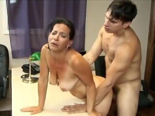 stunning 63yo mature mom with hot body having orgasm with her 22yo boss cock tits