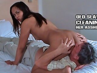 Older slave cleans feet pussy and asshole shesboss kink