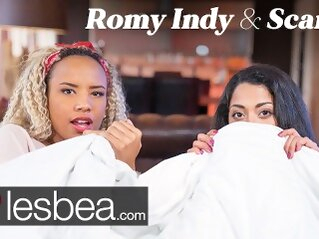 Lesbea Romy Indy and Scarlet Rebel in Movie Night Lesbian Love Making lesbea butt