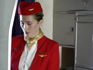 Stewardess fucks a passenger on a plane blowjob close-up