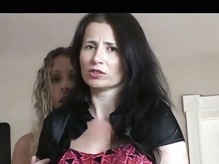 Mother and daughter forced to undress brunette mature