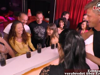 german normal couple at swinger club group sex party amateur brunette