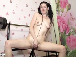 Naughty Evil Eva is Supposed to be Exercising brunette masturbation