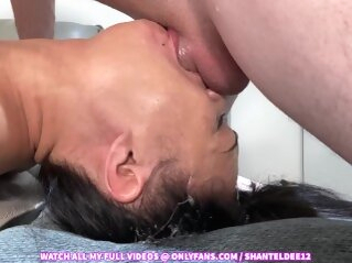 Must See! Throat Bulge Deepthroat Face Fucking Upside Down Sloppy Cum in Mouth Shantel Dee asian deepthroat