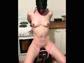 Bound slave gagged with vibrator torture hooded bondage