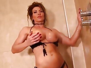 Lynda Leigh milf strip naked in shower and wanks her pussy big tits shower