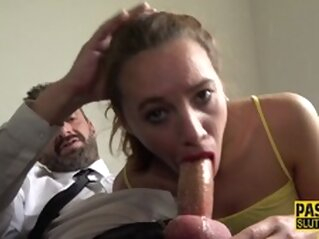 Frisky Teen Submissive Gets Throated and Plowed brunette hardcore