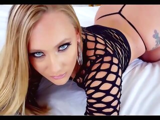 Ravishing blonde in a black, fishnet blouse is licking balls and sucking a hard meat stick ravishing blonde in a black fishnet blouse is licking balls and sucking a hard meat stick