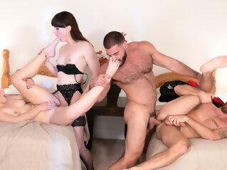 Natalie Mars & Ella Nova & Ricky Larkin & Wesley Woods in Free For All - WhyNotBi whynotbi